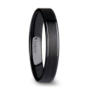 Flat Black Brushed Center Polished Edge Ceramic Ring