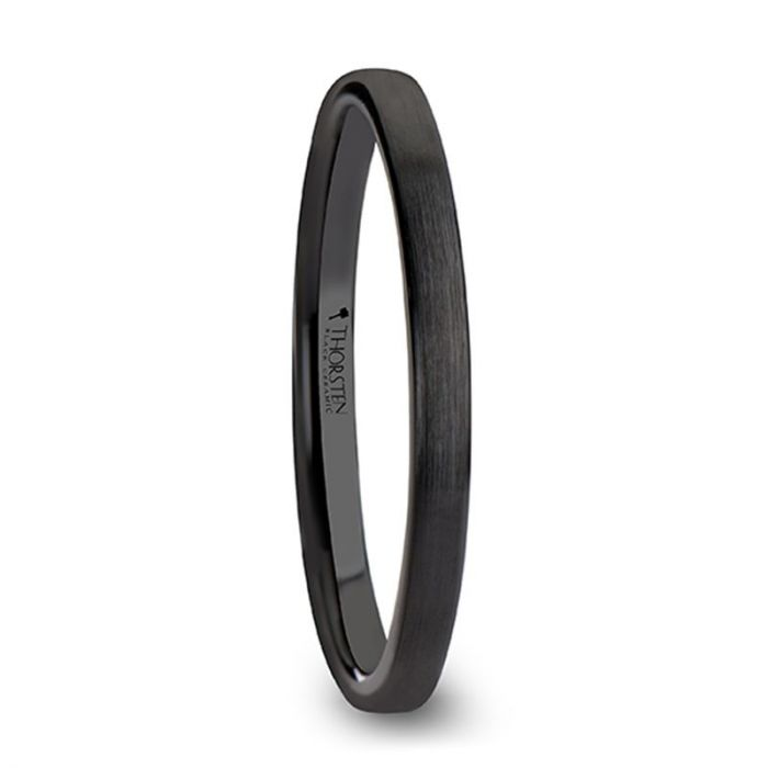 Flat Black Ceramic Anniversary Band for Women with Satin Finish