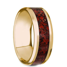 Load image into Gallery viewer, Red Dinosaur Bone Inlay Yellow Gold Ring, 14K, Beveled