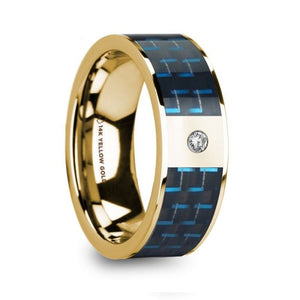 Blue Black Carbon Fiber Inlay 14K Yellow Gold Ring with Diamond