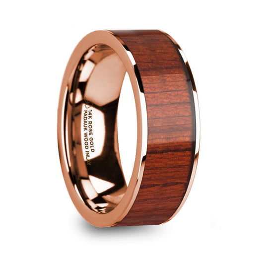 Padauk Wood Inlay 14K Rose Gold Wedding Band, Flat