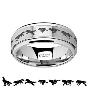 Running Wolf Animation Tungsten Carbide Spinner Ring