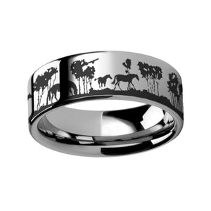 Wild Horses and Trees Engraving Tungsten Wedding Band