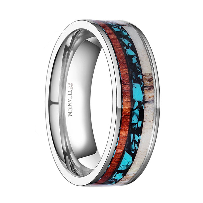 Real Deer Antler, Turquoise, Wood Inlay Titanium Wedding Band