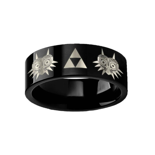 Legend of Zelda Majora's Mask Triforce Black Tungsten Ring