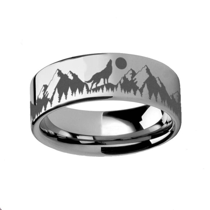 Wolf Howling at Moon Mountain Landscape Tungsten Carbide Ring