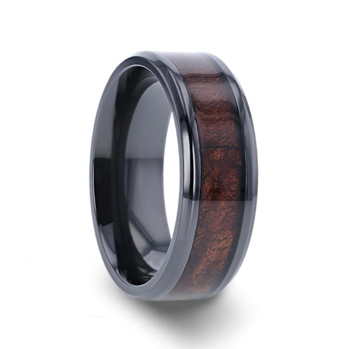 Redwood Inlay Black Ceramic Ring