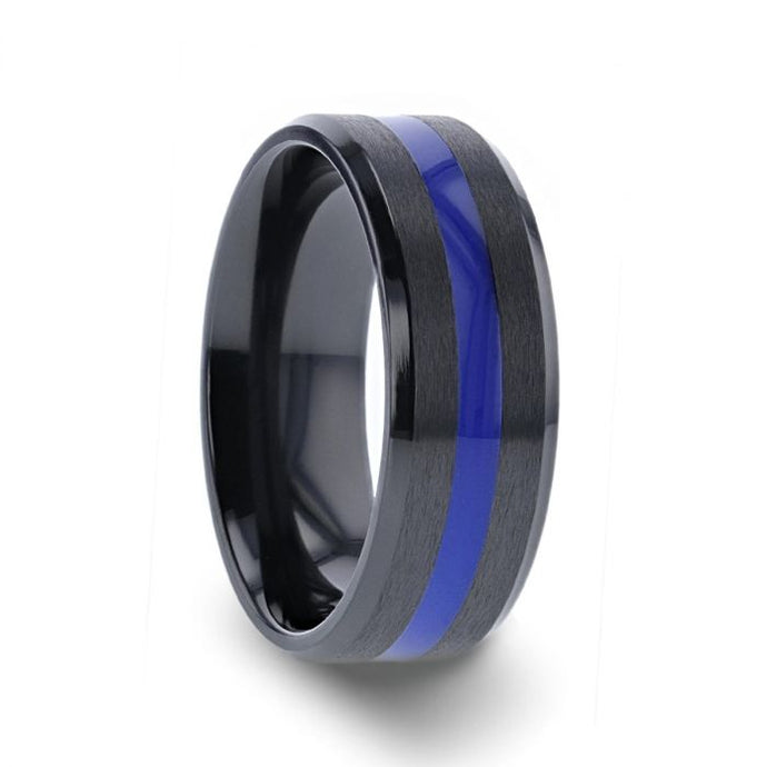 Black Ceramic Wedding Ring with Polished Blue Center Stripe