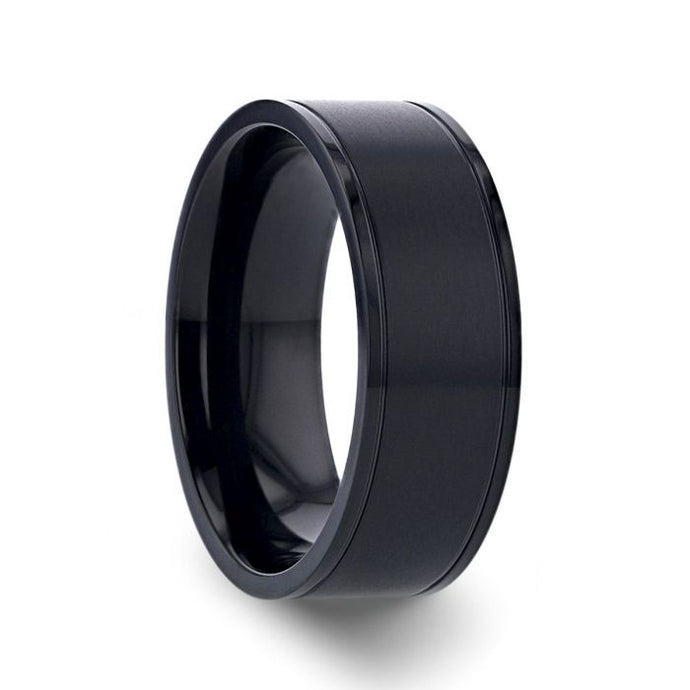 Brushed Black Titanium Wedding Band with Polished Grooved Edges