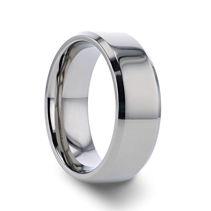 Titanium Anniversary Ring, Polished with Beveled Edges