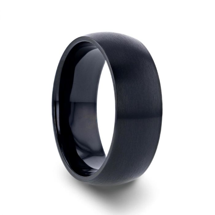 Black Titanium Wedding Ring, Brushed Finish, Domed