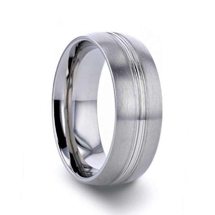 Polished Grooved Center Brushed Titanium Wedding Band, Rounded