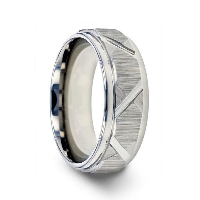 Raised Center Brushed Tire Groove Tungsten Ring with Polished Edge