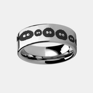 My Neighbor Totoro Susuwatari Soot Sprites Engraved Tungsten Ring