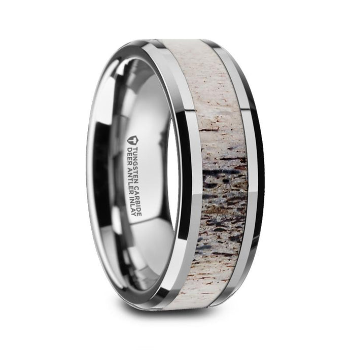 Genuine Deer Antler Inlay Tungsten Carbide Ring, Beveled Edges