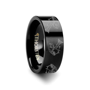 Detailed Trout Fish Engraved Black Tungsten Band