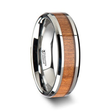Load image into Gallery viewer, Tungsten Band with Cherry Wood Inlay