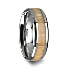Load image into Gallery viewer, Ash Wood Tungsten Band with Polished Bevels