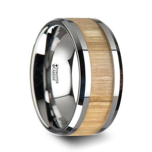 Ash Wood Tungsten Band with Polished Bevels