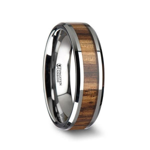 Exotic Zebra Wood Tungsten Carbide Band