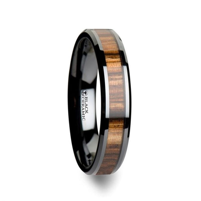 Zebra Wood Inlay Black Ceramic Wedding Band