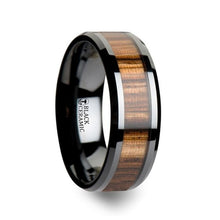 Load image into Gallery viewer, Zebra Wood Inlay Black Ceramic Wedding Band