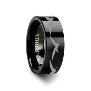 Prehistoric Pterodactyl Pterosaur Engraved Flat Black Tungsten Ring