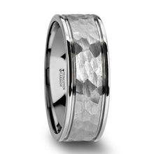 Load image into Gallery viewer, Hammer Mark Surface White Tungsten Carbide Ring
