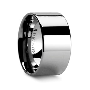 Flat Wide Polished Tungsten Wedding Band