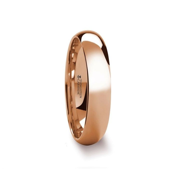 Classic Rose Gold Plated Tungsten Wedding Band, Domed, Polished