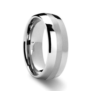 Platinum Inlay Tungsten Wedding Band, Rounded
