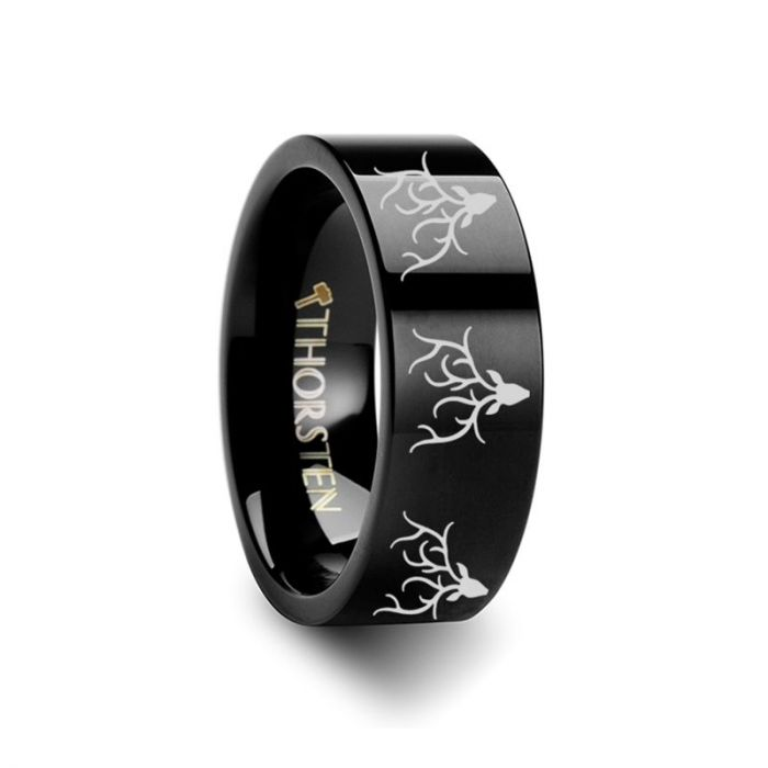 Deer Head Antlers Engraving Black Tungsten Anniversary Ring
