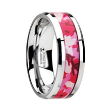 Load image into Gallery viewer, Hot Pink Camouflage Inlay Tungsten Ring
