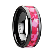 Load image into Gallery viewer, Hot Pink White Camouflage Black Ceramic Ring for Ladies