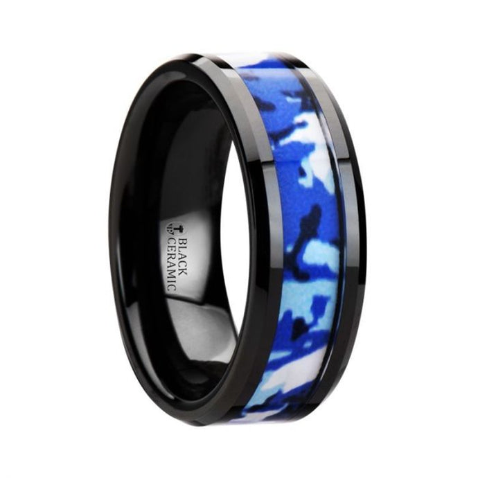 Blue White Camo Black Ceramic Ring with Beveled Edge