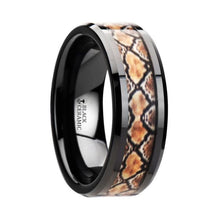 Load image into Gallery viewer, Boa Snake Skin Black Ceramic Anniversary Band