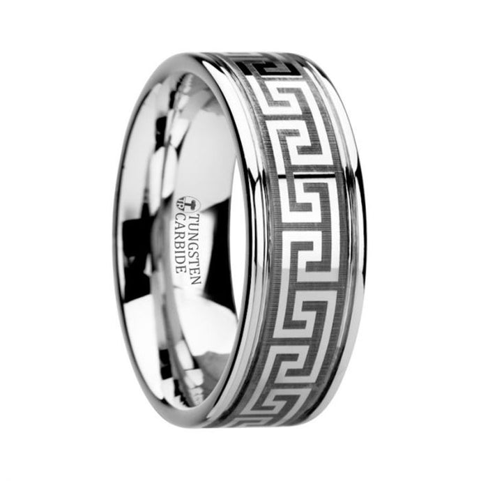 Greek Key Meander Grooved Tungsten Ring