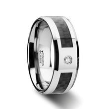Load image into Gallery viewer, Black Carbon Fiber Tungsten Anniversary Band with White Diamond