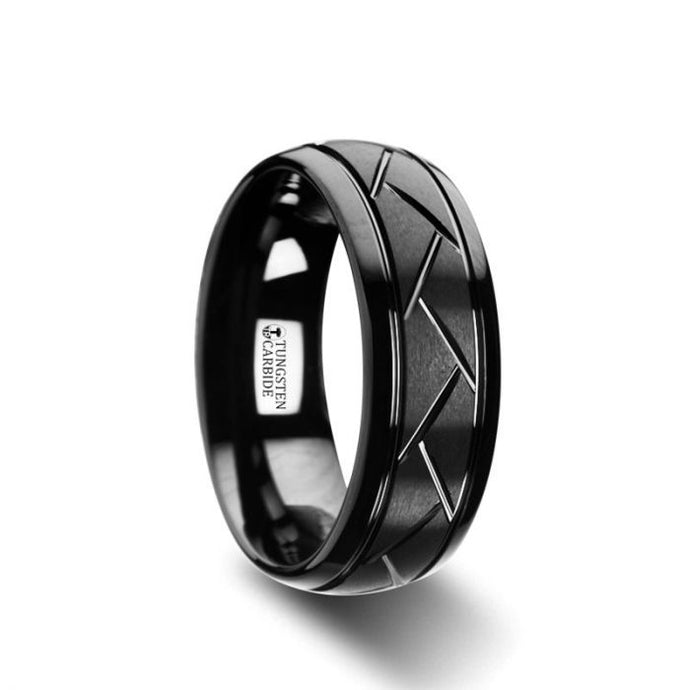 Cross Cut Grooved Black Tungsten Carbide Ring
