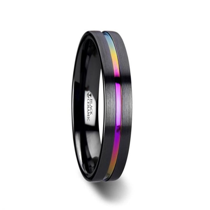 Flat Black Ceramic Ring with Grooved Rainbow Center