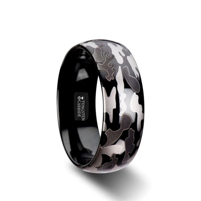 Black and Gray Camo Pattern Domed Black Tungsten Ring with