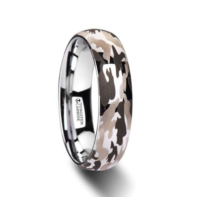 Military Camo Domed Tungsten Carbide Ring