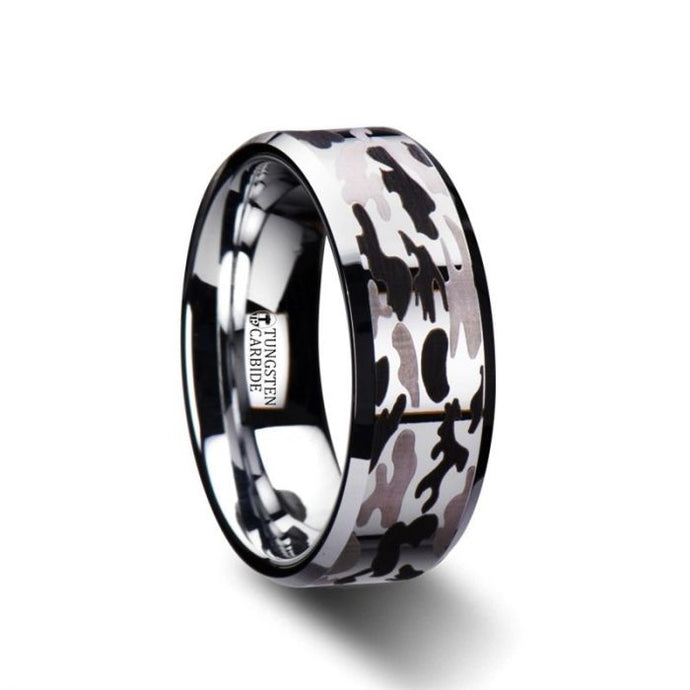 Black and Gray Camouflage Tungsten Wedding Band
