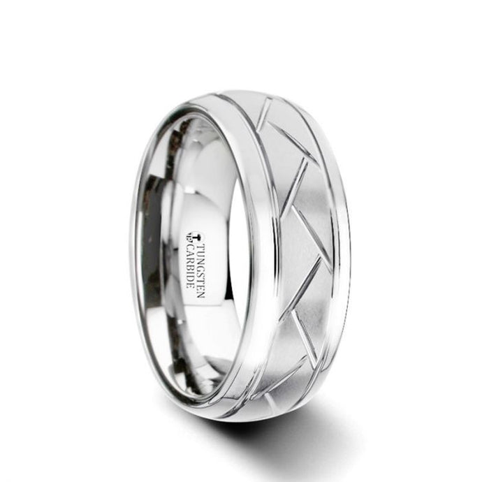 Cross Hatch Diagonally Grooved Tungsten Ring with Brushed Finish