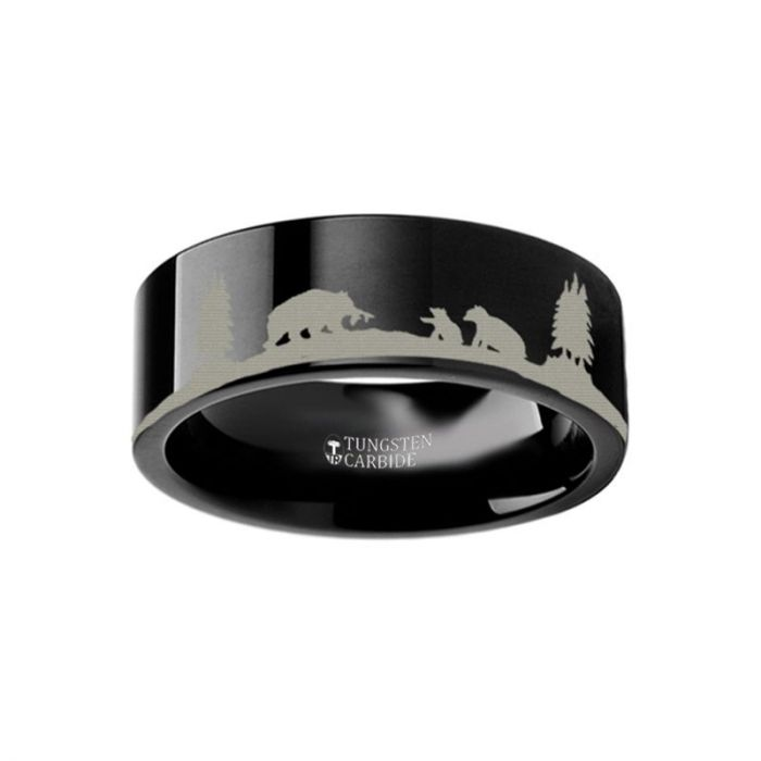 Bear Cubs Nature Scene Black Tungsten Ring