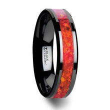 Load image into Gallery viewer, Red Opal Black Ceramic Ring with Bevel Edge