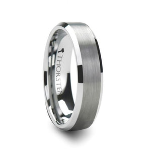 Brushed Center Polished Edge Tungsten Band
