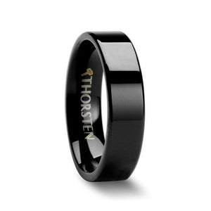 Straight Cut Polished Black Tungsten Ring