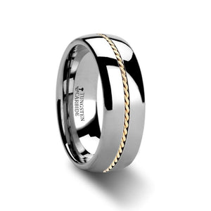 14K Gold Braided Inlay Tungsten Carbide Wedding Band, Domed