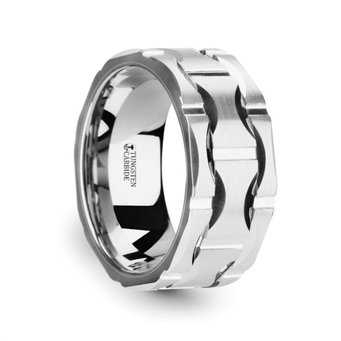 Wavy Grooved Pattern Brushed Tungsten Ring
